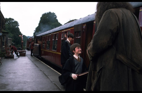 Still from Harry Potter and the Philosopher's Stone with Harry and Hagrid