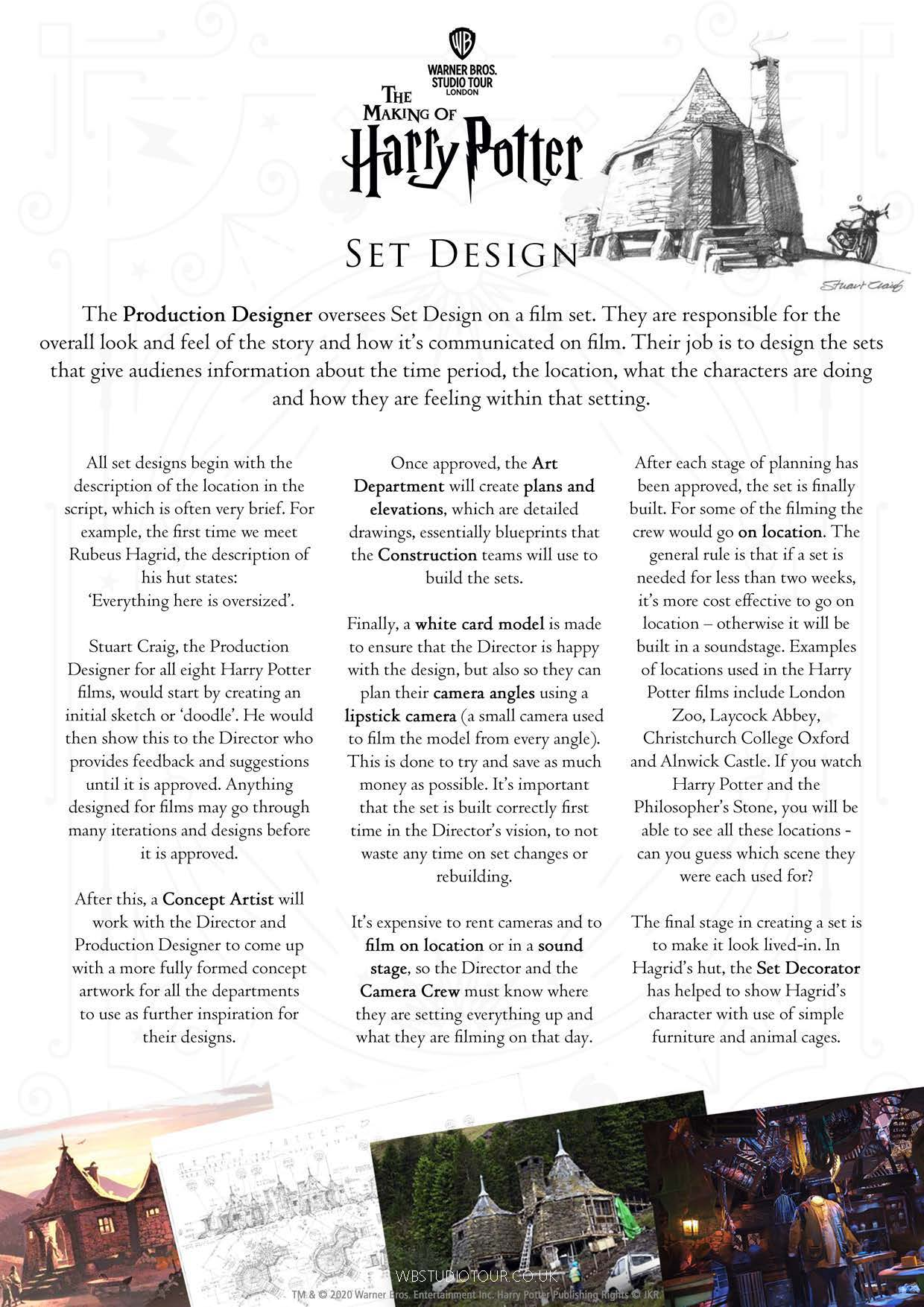 Set Design activity worksheets page 1 - Studio Tour at Home