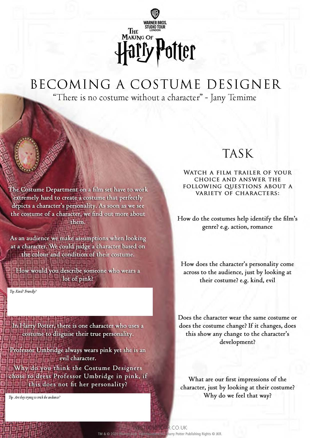 Costume Designer activity worksheets page 1 - Studio Tour at Home