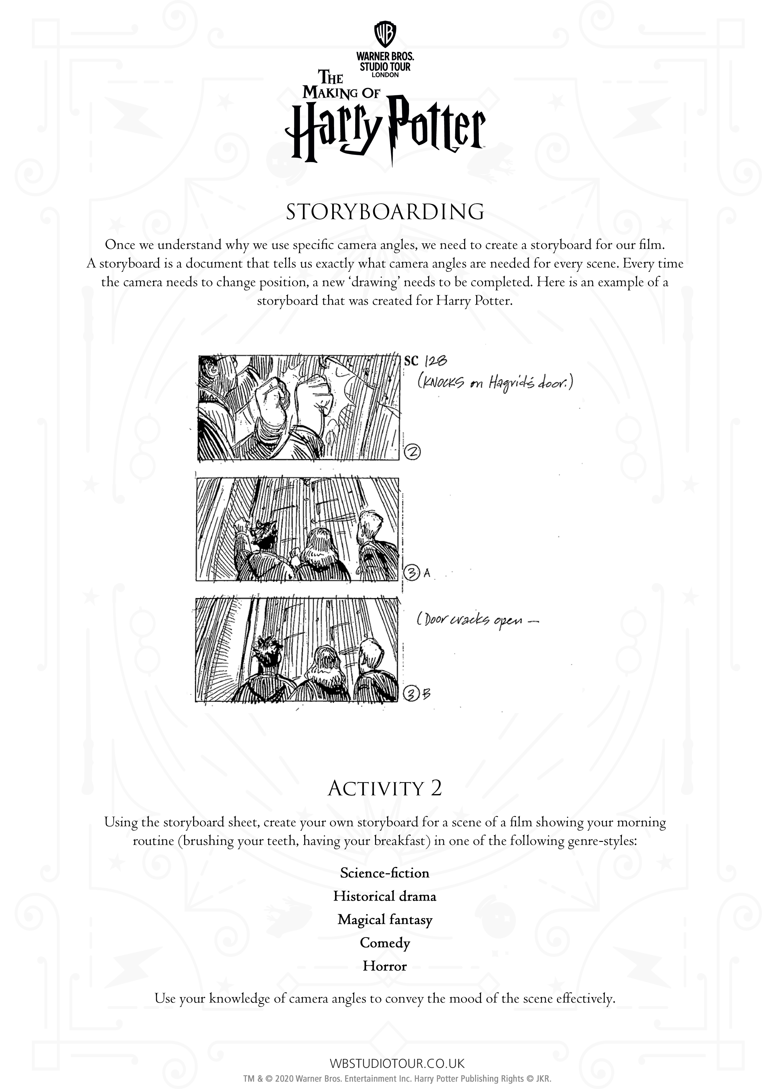 Camera Angles Activity Sheet page 2 - Studio Tour at Home
