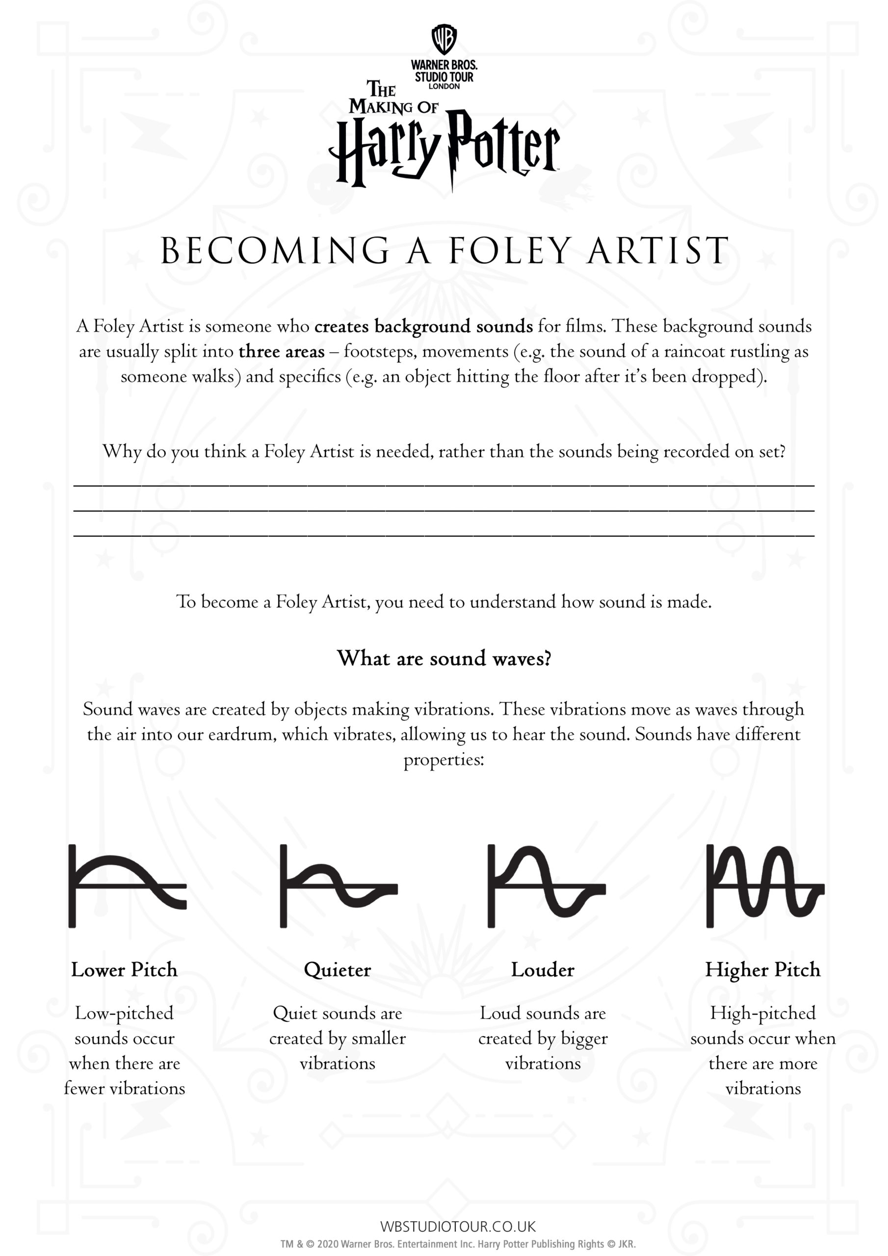 The Art of Foley activity worksheets page 1 - Studio Tour at Home