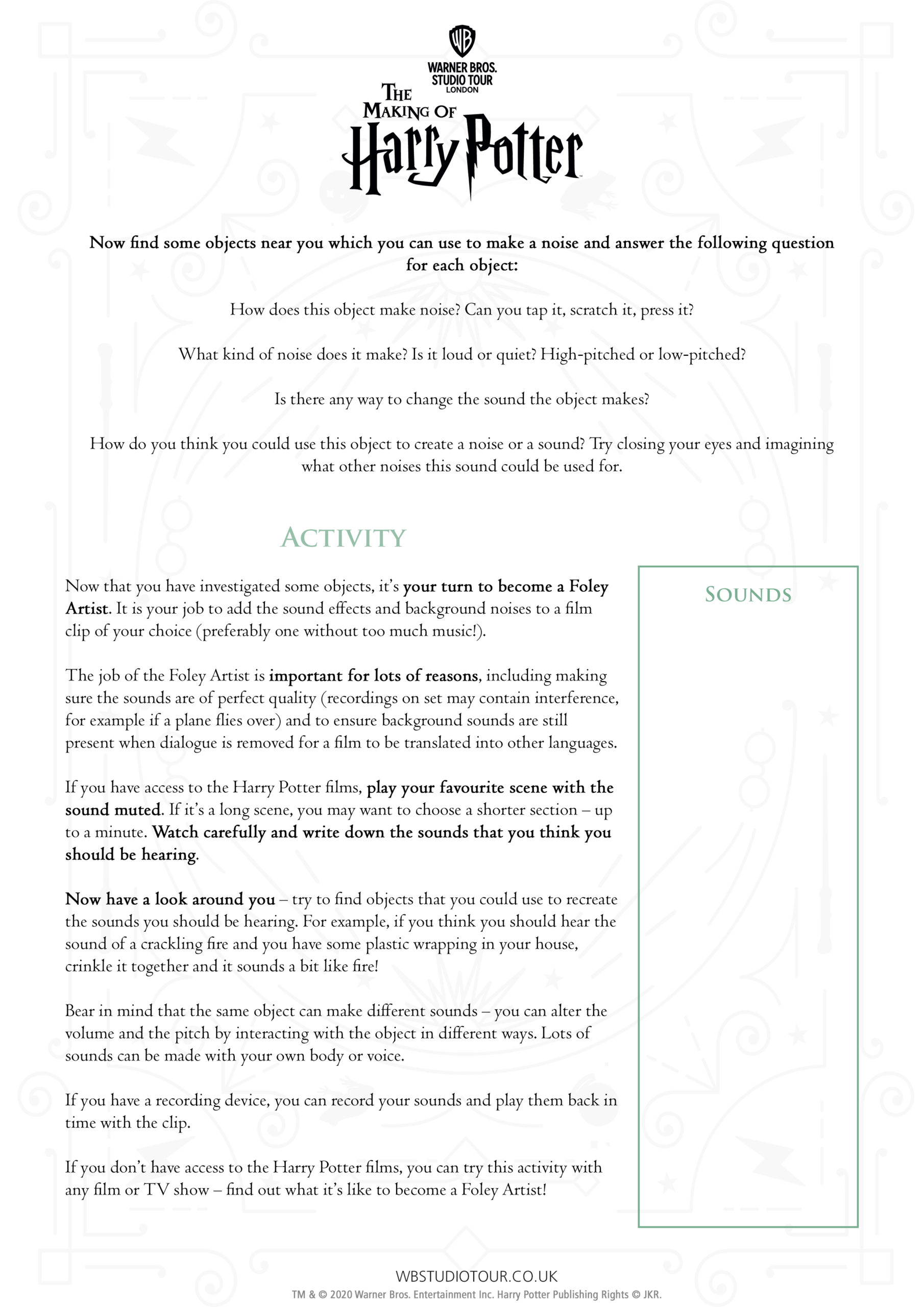 The Art of Foley activity worksheets page 2 - Studio Tour at Home
