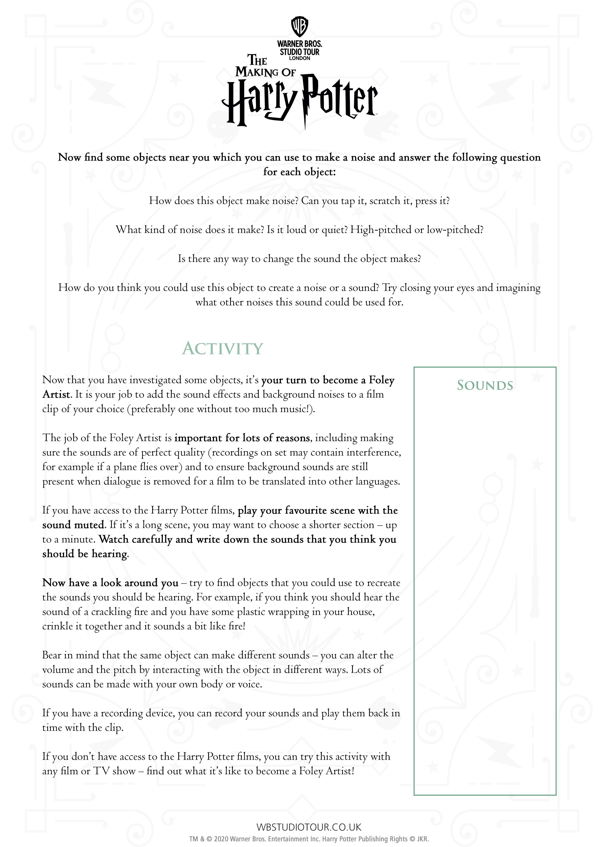 Foley activity sheet page 2