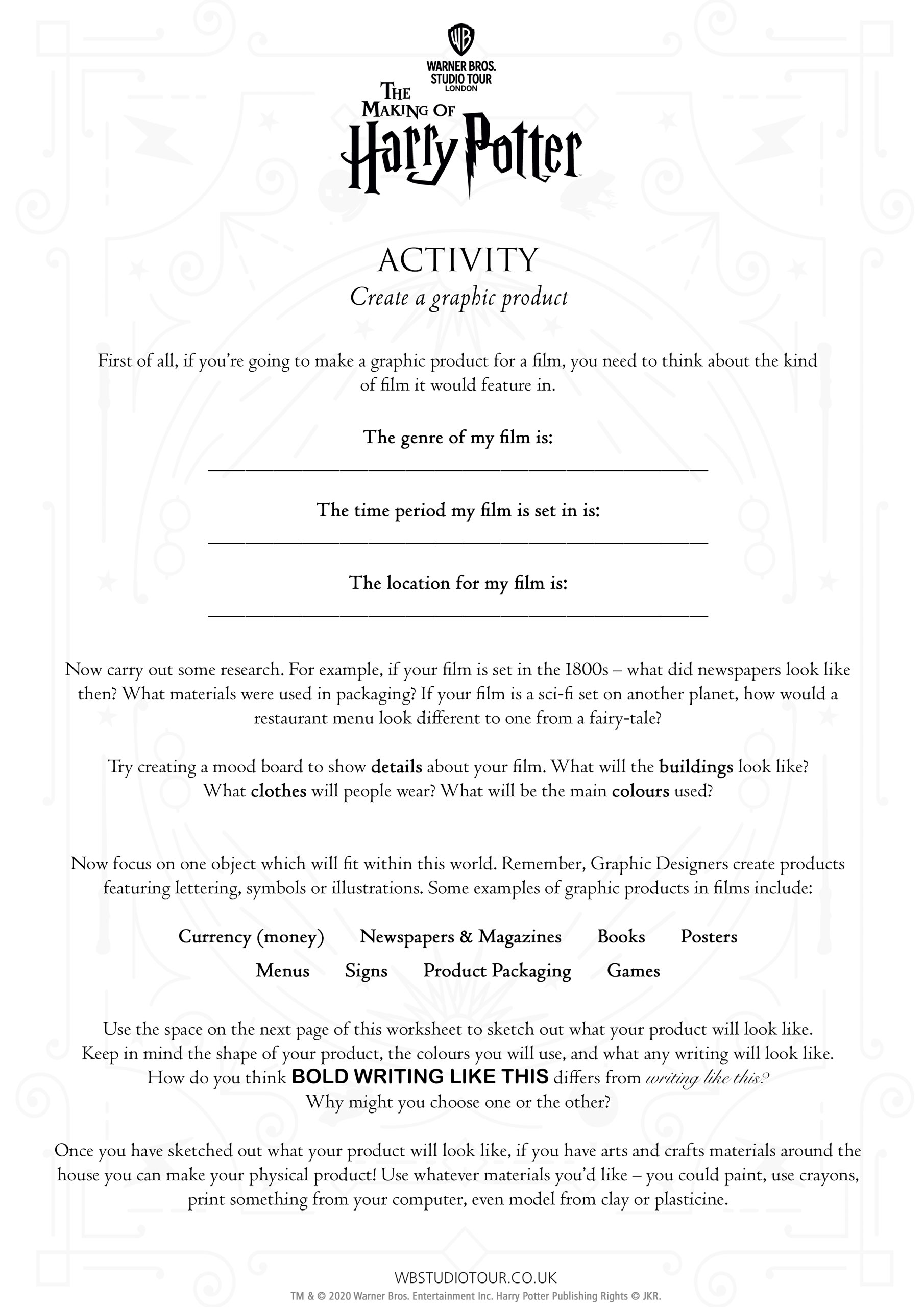 Graphic Design activity worksheets page 2 - Studio Tour at Home