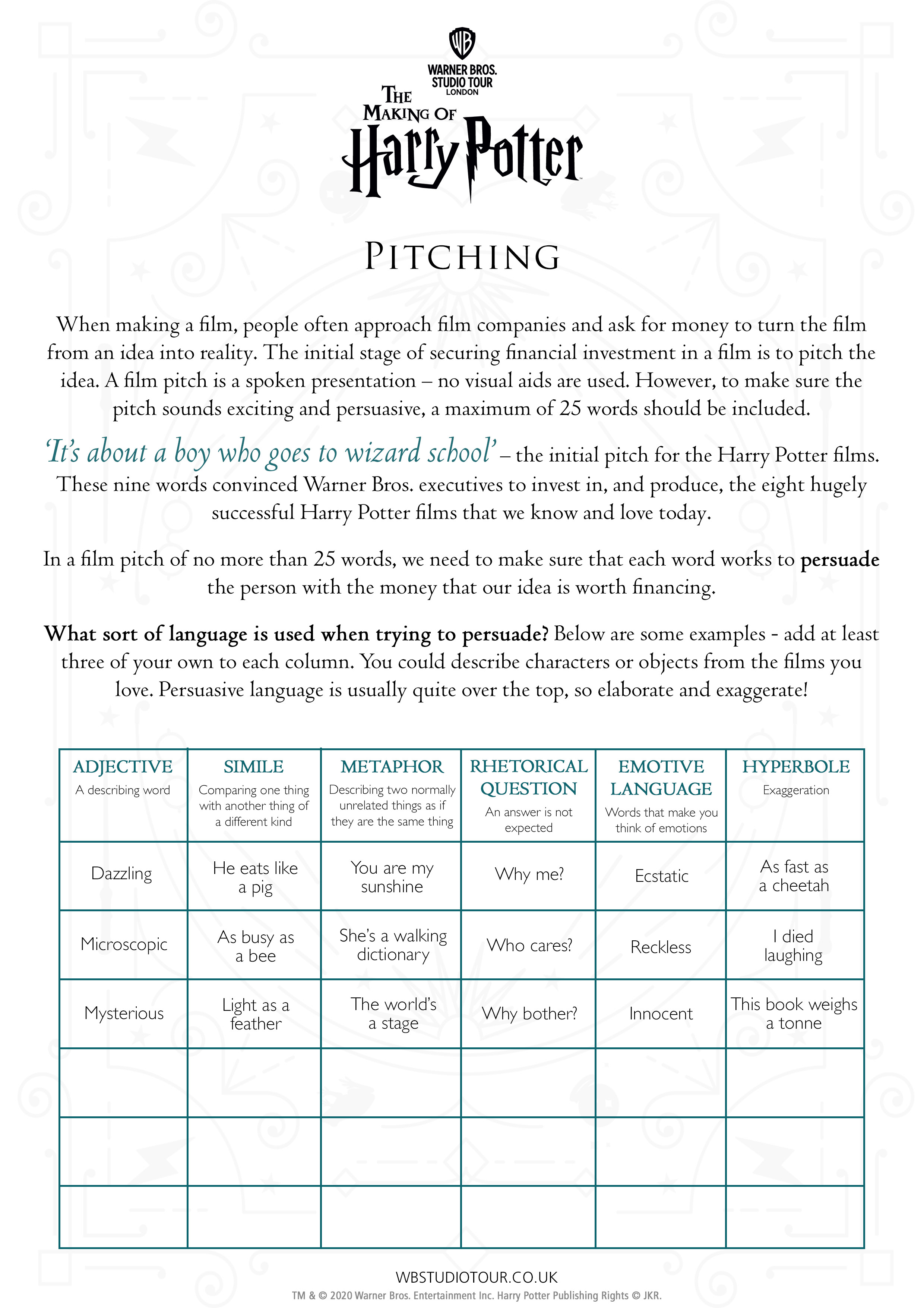 Pitching activity worksheets page 1 - Studio Tour at Home