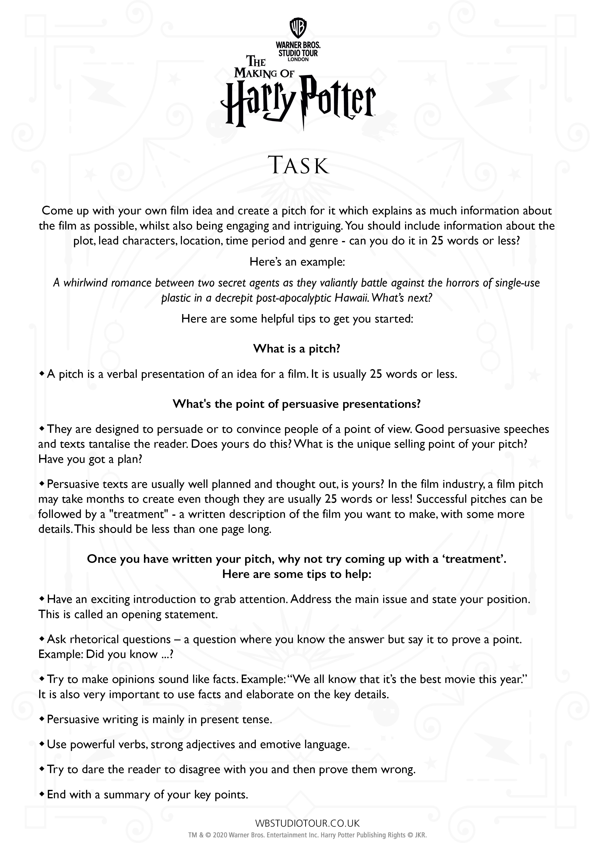 Set Design activity worksheets page 2 - Studio Tour at Home