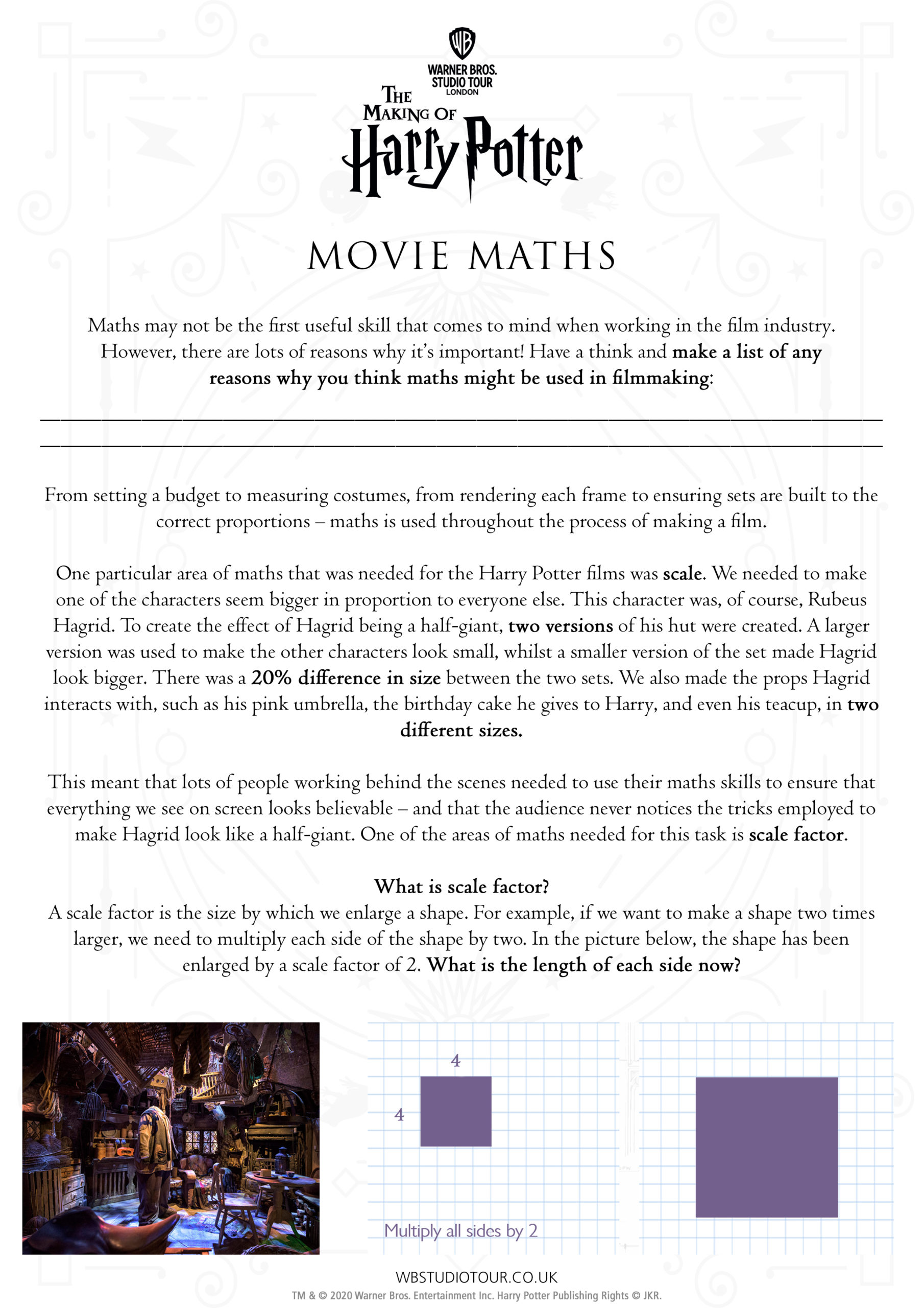 Movie Maths activity worksheets page 1 - Studio Tour at Home