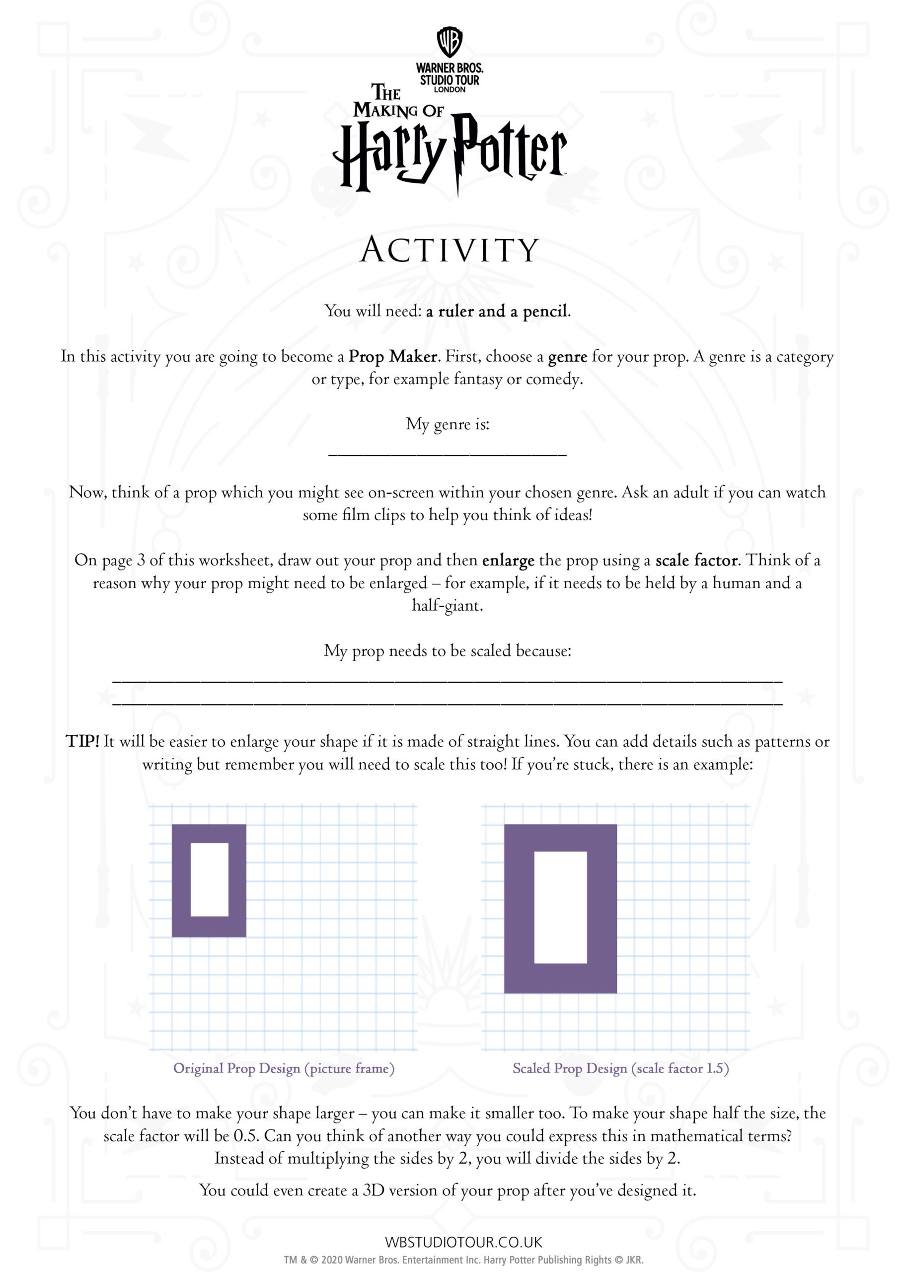 Movie Maths activity worksheets page 2 - Studio Tour at Home