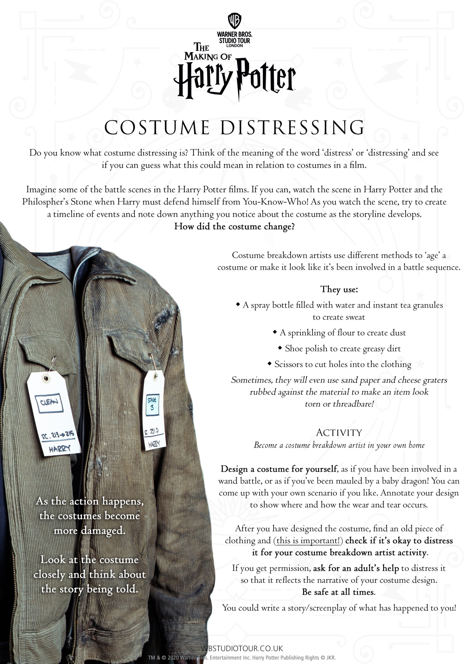 Costume Distressing activity worksheets page 1 - Studio Tour at Home
