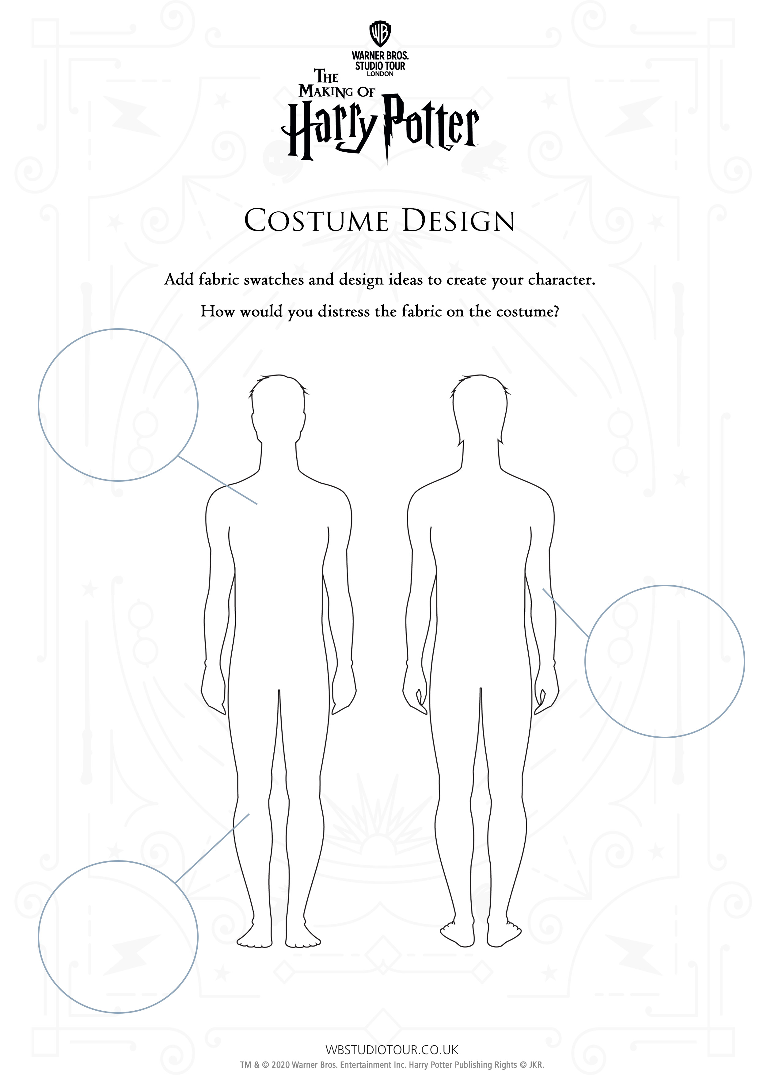 Costume Distressing activity worksheets page 2 - Studio Tour at Home