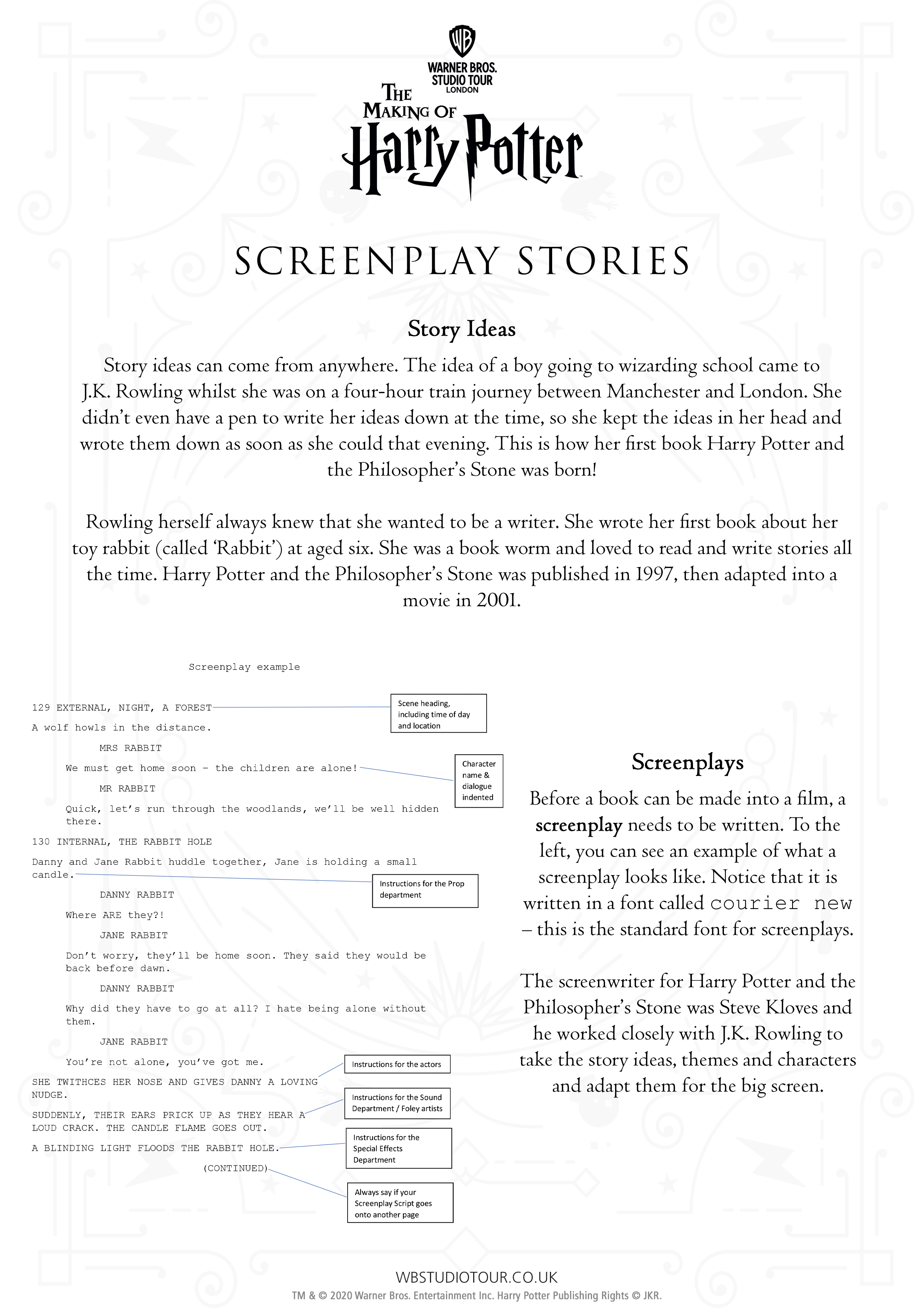 Screenplay activity worksheets page 1 - Studio Tour at Home