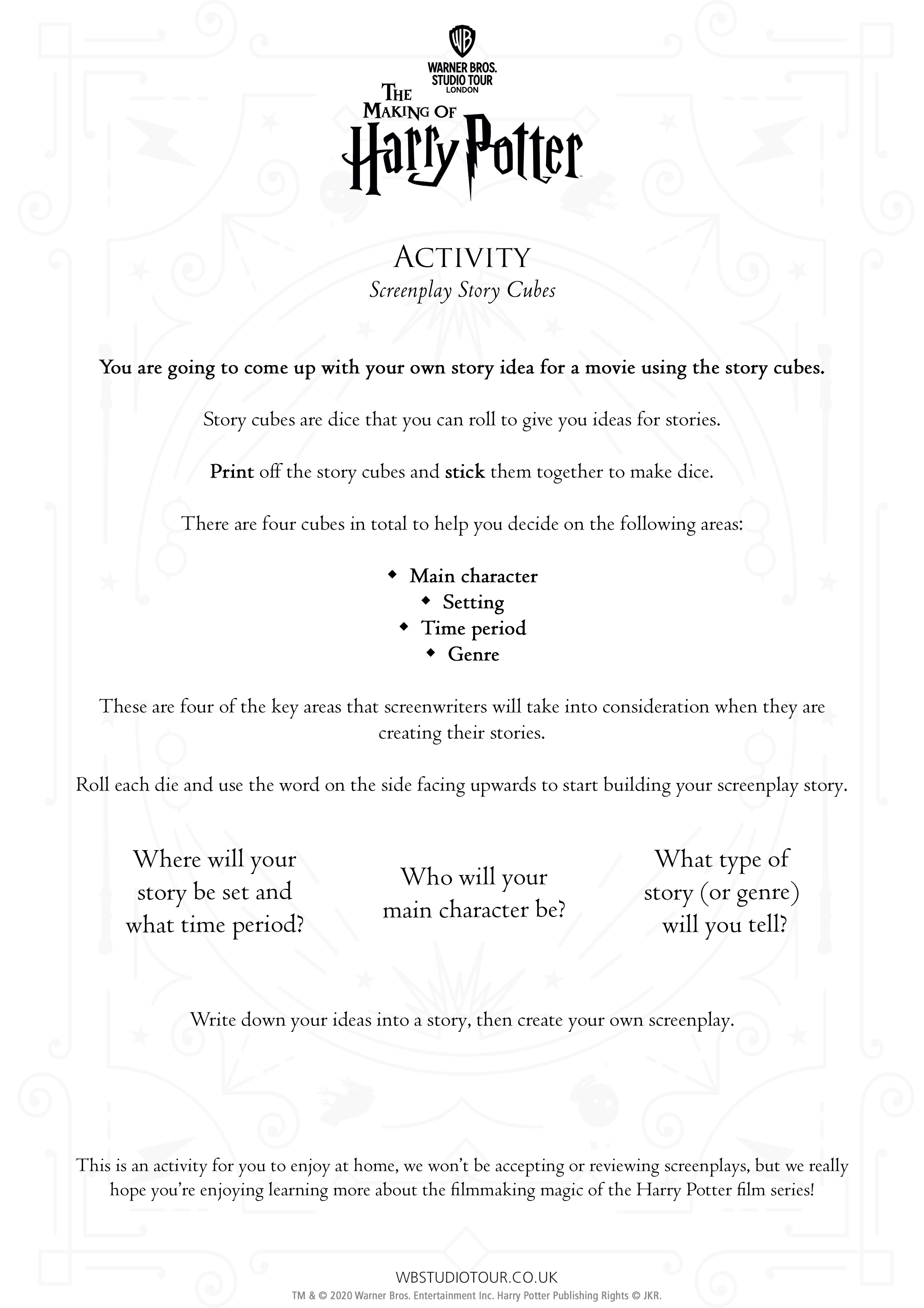 Screenplay activity worksheets page 2 - Studio Tour at Home