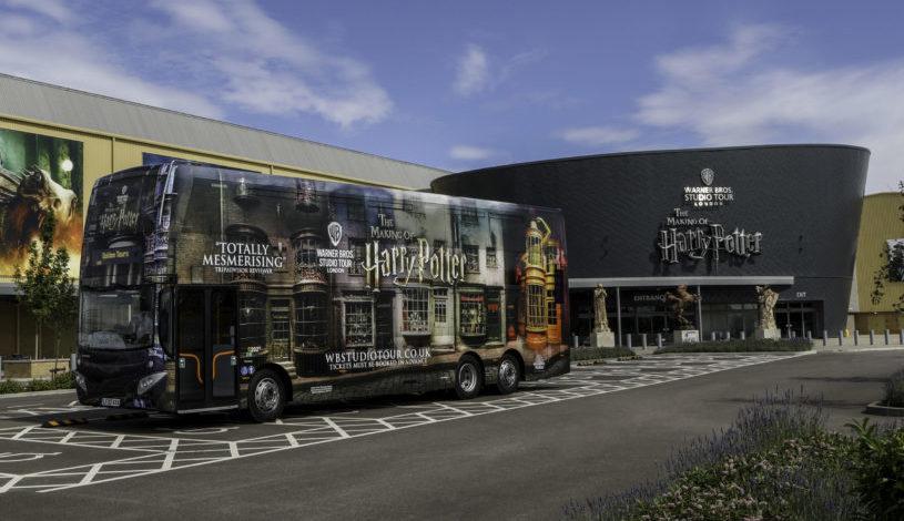 Golden Tours bus outside of the Tour entrance