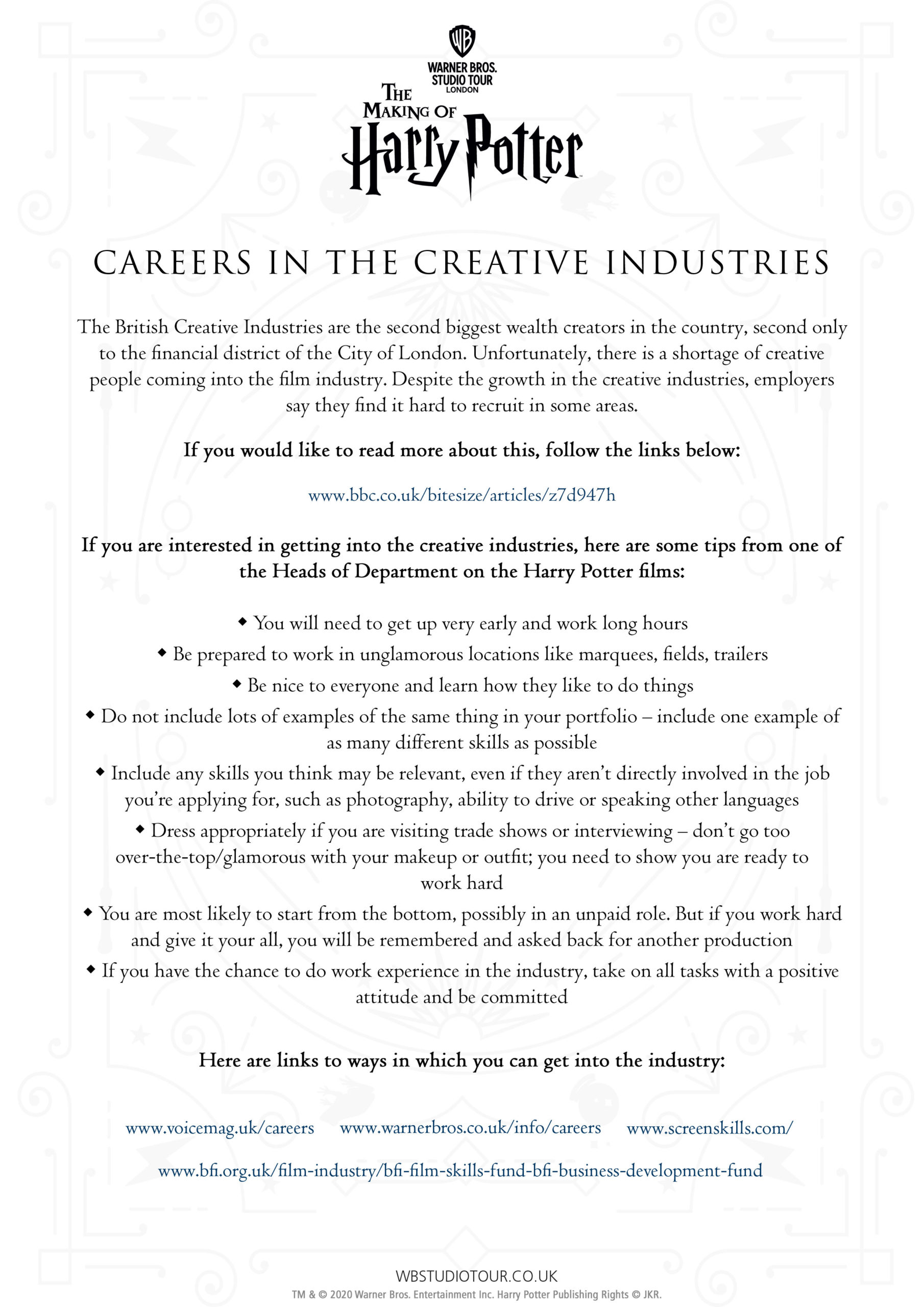 Careers activity worksheets page 1 - Studio Tour at Home