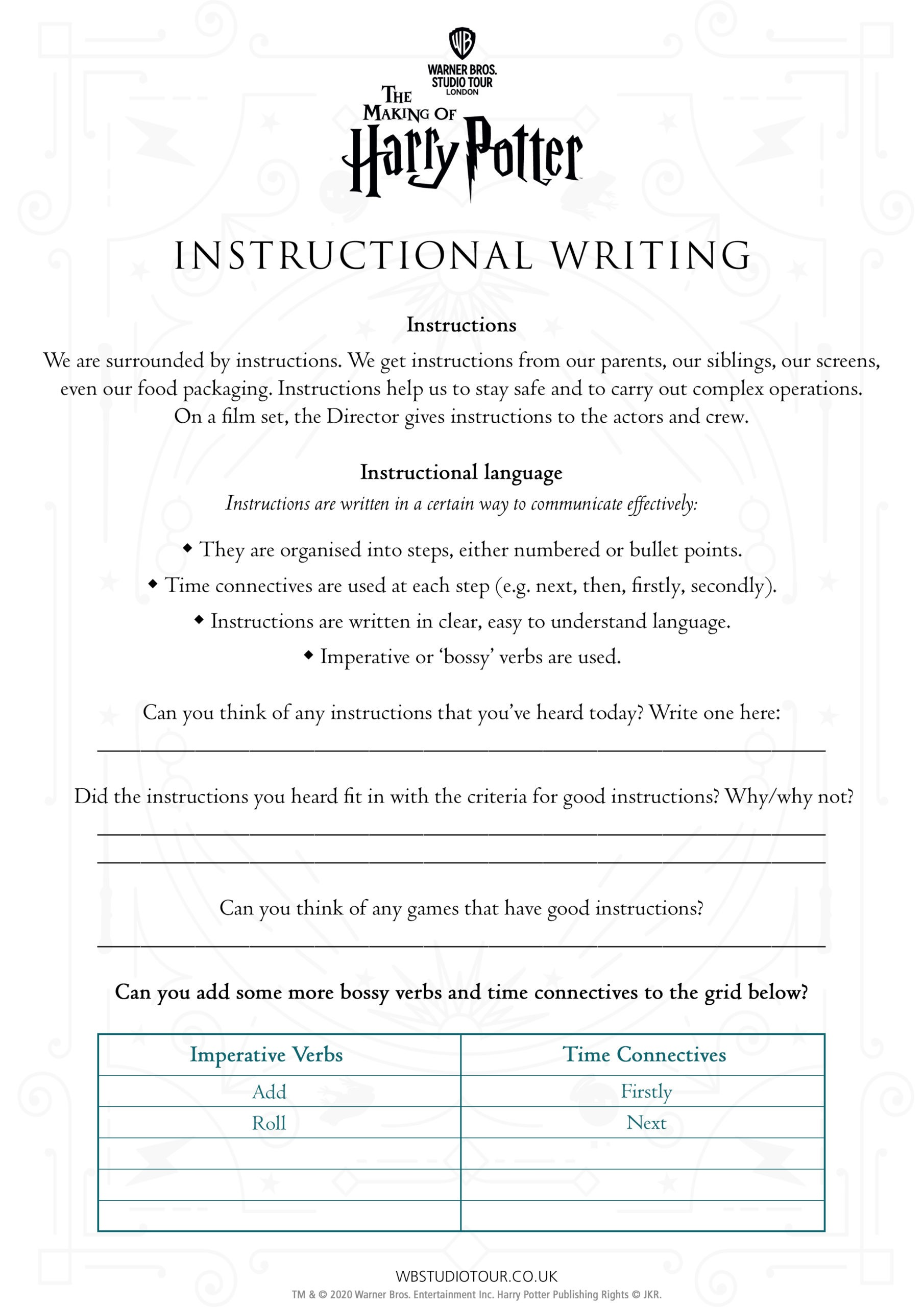 Instructional Writing activity worksheets page 1 - Studio Tour at Home