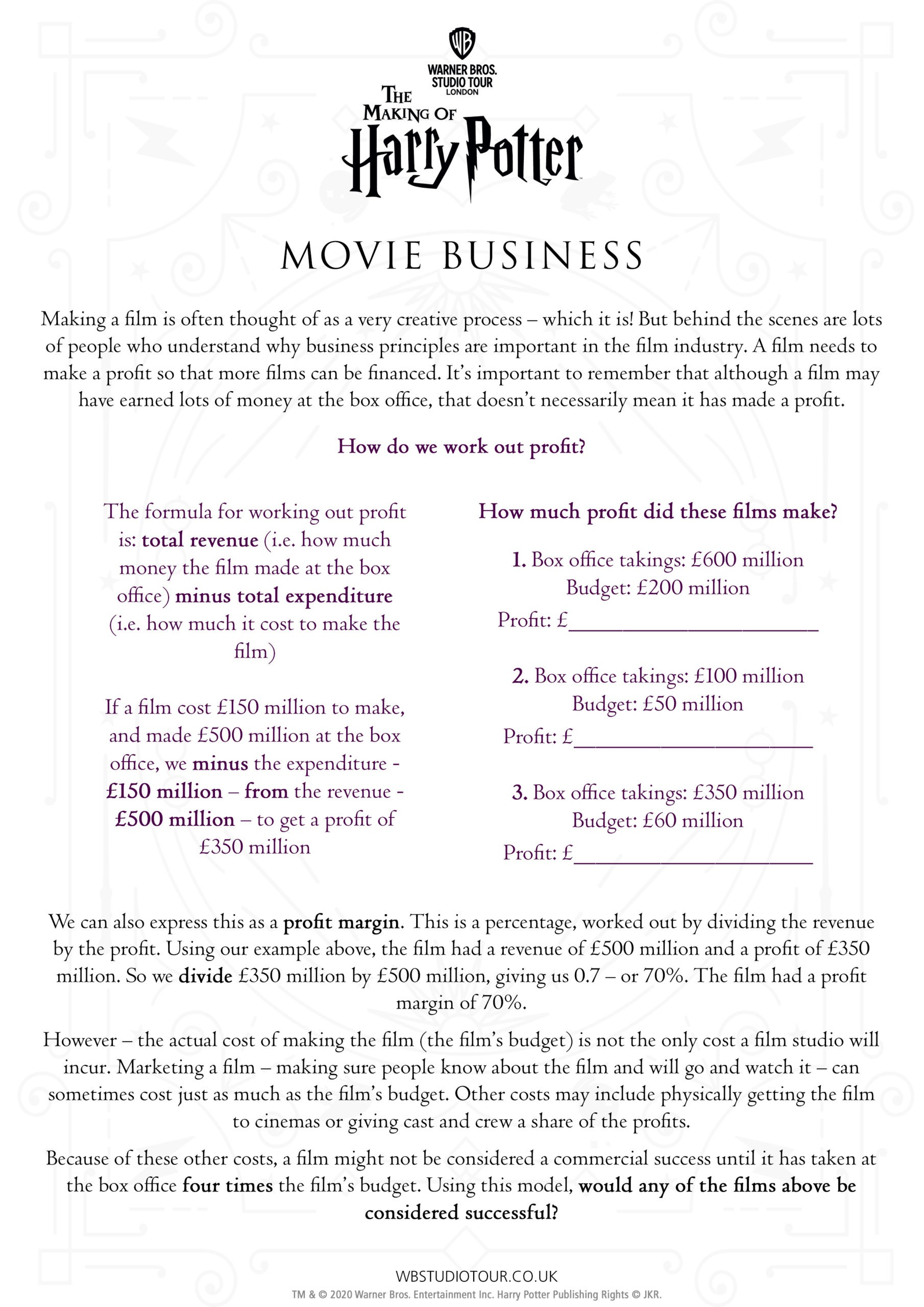 Movie Business activity worksheets page 1 - Studio Tour at Home