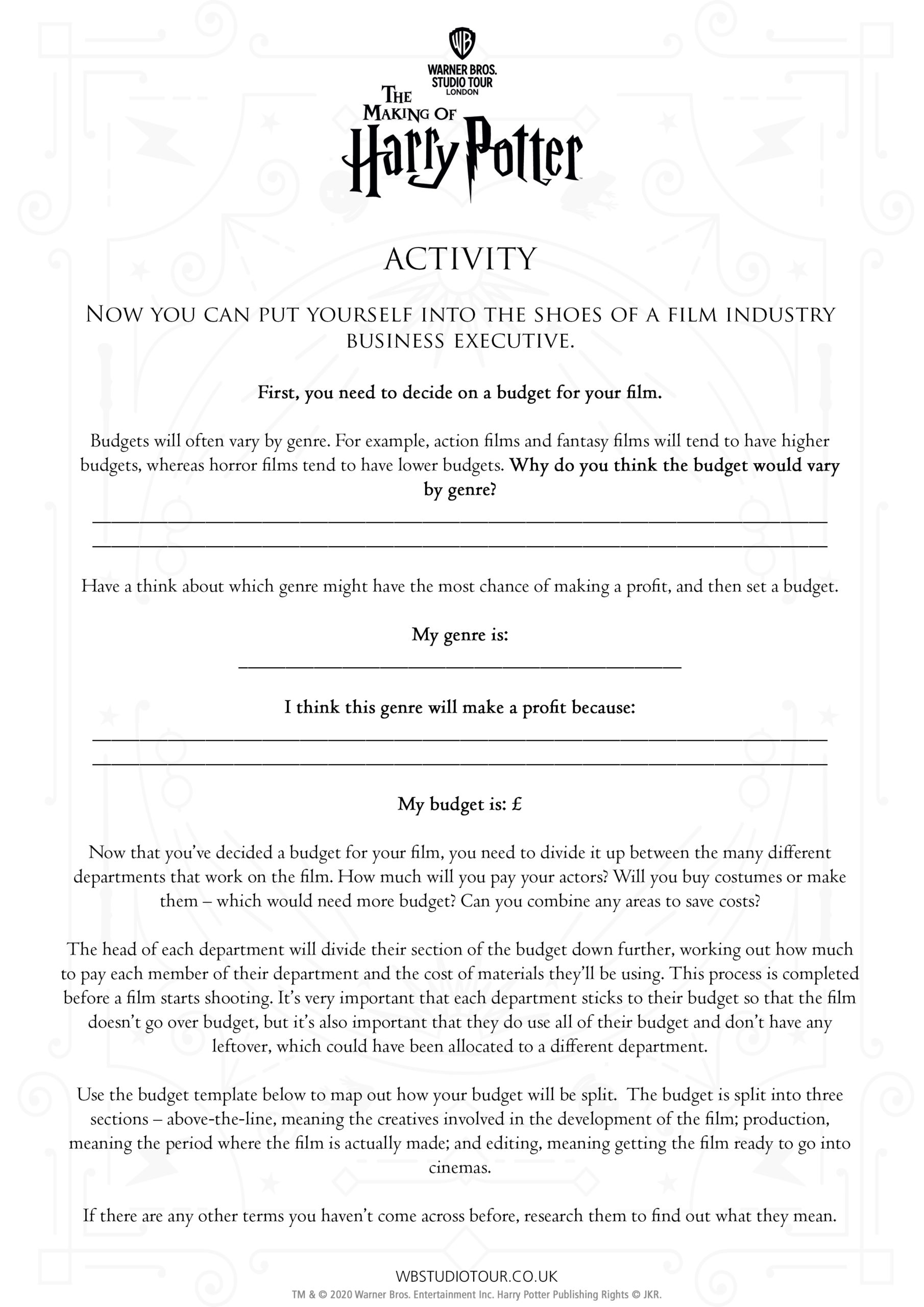 Movie Business activity worksheets page 2 - Studio Tour at Home