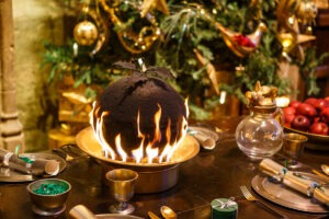 Flaming Christmas Pudding in the Great Hall